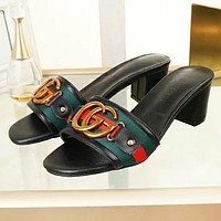 GUCCI New fashion letter stripe shoes flip flop slippers Black