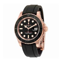 Rolex Yacht-Master Automatic Black Dial 18kt Everose Gold Black Rubber Strap Mens Watch 116655BKSRS