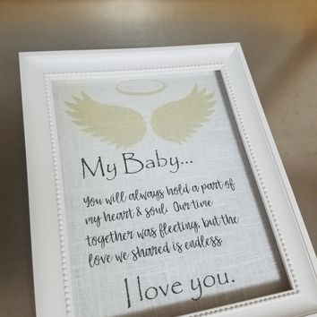 Miscarriage gift unframed linen print child loss gift memory prints