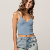BOZZOLO Ribbed Criss Cross Blue Womens Crop Cami