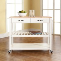 Crosley White Kitchen Cart With Natural Wood Top-KF30051WH - The Home Depot