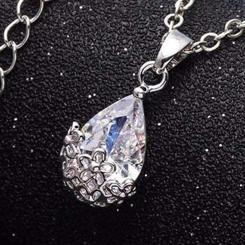 Infused Diamond Dust Necklace in Platinum or 18K Gold Plating