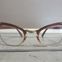 Vintage Cat Eye Glasses Bausch and Lomb Eye Glasses Eye Glass Frames Cat Eye Frames Rose Gold Mauve Pink Eye Glass Frames Vintage Frames