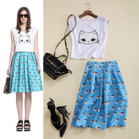 White Sleeveless Embroidered Cat Face  Cropped Top And Pleated A-Line Mini Skirt