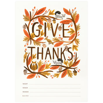 Thankful Forest Thanksgiving Fill-In Invitation