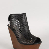 Bamboo Perforated Faux Wood Platform Wedge Color: Black, Size: 6.5