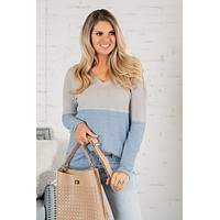 Breeze On By Color Block Knit Top : Grey/Blue