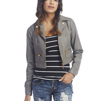Gold Zippers Faux Leather Jacket | Wet Seal