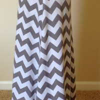 Gray and white Chevron maxi skirt, summer skirt, chevron maxi skirt, skirt, maternity skirt, long skirt