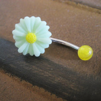 Daisy Belly Button Jewelry Stud Ring Sunflower by Azeetadesigns