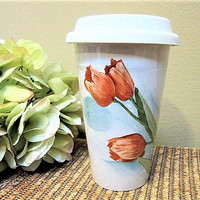 Mug Coffee Floral Red Travel Gift Ideas Lid Ceramic Porcelain Hand Painted Tulips blmm
