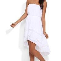 Strapless High Low Blouson Dress with Illusion Lace Detail Skirt