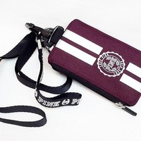 Lanyard ID Holder Zipped Wallet case Black orchid