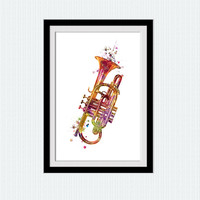 Trumpet print Trumpet poster Trumpet watercolor illustration Trumpet wall art Home wall decoration Wall hanging decor Christmas gift W350