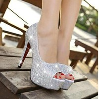 Fashion Online Women's Fashion Ultra Flash Diamond Wedding Shoes Fish Mouth Shoes High-heeled Shoes White Nightclub Crystal Shoe Single Shoes Bride Shoes - 1930305924