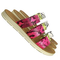 Alayna01 3 Strap Slide In Flat Slippers - Womens Neon Snake Print Shoes