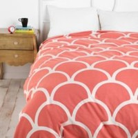UrbanOutfitters.com > Stamped Scallop Duvet Cover in Pink