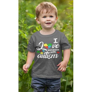 Kids Autism T Shirt Love Someone With Autism Shirt Heart Puzzle Love Autism T Shirt Autism Awareness Shirt