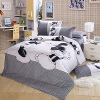 DISNEY Mickey Minnie Mouse Bedding Set Black And White Cartoon Bedding Duvet Cover Sets Queen King Size 3/4PCS Bedclothes
