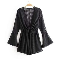Women Festival Style Lace Patchwork Flared Sleeve Rompers
