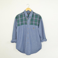 Vintage 90s Mickey Mouse Disney Flannel Denim Chambray Blue Jean Shirt Button Down Green Plaid Unisex Size Mens Medium Womens Large