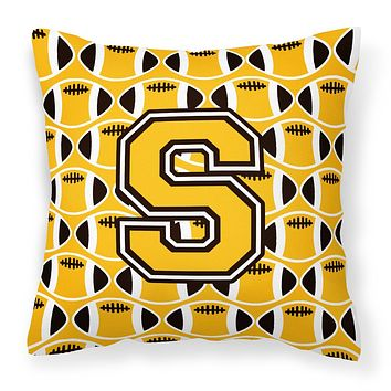 Letter S Football Black, Old Gold and White Fabric Decorative Pillow CJ1080-SPW1414