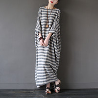 SERENELY 2016 Summer Dresses Retro Vintage Striped Batwing Sleeve Robe Maxi Long Loose Plus Size Women Dress Casual Linen Dress