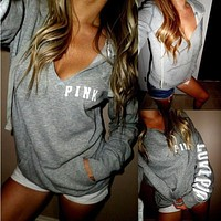 PINK Victoria's Secret  Casual Letter Print V-Neck Pullover Top Sweatshirt Hoodie Sweater