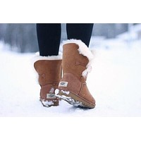 """UGG"" Women Fashion Wool Snow Boots Calfskin Shoes Brown I"