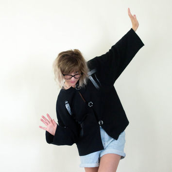 vtg 90s black white art cardigan, big button modern vintage, 1990s cozy sweater, tumblr soft grunge, urban outfitters, autumn fall aesthetic