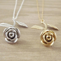 Long Rose Necklace  Valentine's Day Gift For Her  by PinkTwig