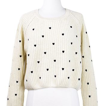 Hearts Cropped Sweater