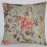 "Blue Grey & Coral Floral Pillow, Waverly After Glow Twilight, Pink, Turquoise, Yellow, Brown, 17"" Square Linen Blend,  Ready Ship"