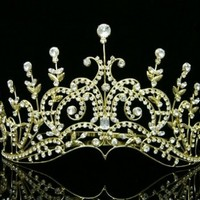Pageant Bridal Wedding Rhinestone Crystal Tiara Crown - Gold Plated Clear Crystals T429