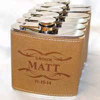 5 Groomsmen gift,  groomsmen leather flask,  engraved flask,  gift for him,  personalized groomsmen gift,  groomsman gift - Qty 1