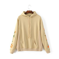Fashion flower embroidery casual long sleeved sweater