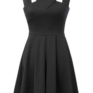 Black Fit + Flare Pleated Mini Dress