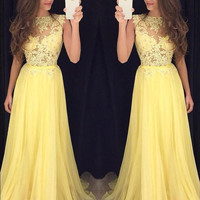 High Neck Prom Dress,Yellow Sleeveless Prom Dresses,Evening Dresses