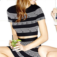 Cityscape Ivory and Black Print Two-Piece Dress