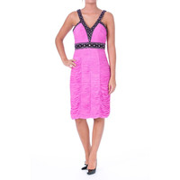 Sue Wong Womens Ruched Embellished Cocktail Dress
