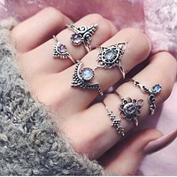 The new vintage carving flower gem lotus shaped 7 - piece ring