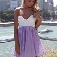 Strapless Chiffon Mini Dress with Plunging Cup Bodice Top