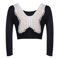 Black Long Sleeve Lace Bow Cropped Blouse