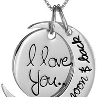 "Silver Necklace for Women's Jewelry Two-Piece Pendant ""I love you to the moon & back"" Plus Luxury Champagne Jewelry Case; Touch Your Loved One NOW!"