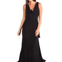 Nicole Miller Silk and Leather Combo Cowl Neck Gown Black - Zappos.com Free Shipping BOTH Ways