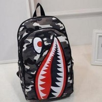 Shark Mouth Trending Print Unisex Casual New Cartoon Double Shoulder Bag Travel Backpack Personalized Canvas School Bag-1