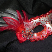 Masquerade Mask in Red and Silver by TheCraftyChemist07 on Etsy