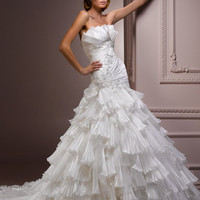 Diamond White Pleated Organza Embellished Strapless Drop Waist Isela Wedding Gown - Unique Vintage - Cocktail, Evening & Pinup Dresses
