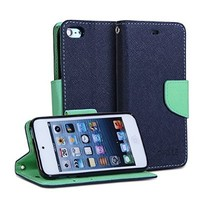 iPod 5 Case, GMYLE(R) Wallet Case Classic for ipod Touch 5th Generation - Navy Blue & Mint Green Cross Pattern PU Leather Protective Folio Slim Fit Wallet Stand Case Cover