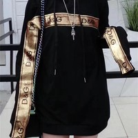 """D&G"" Women Casual Fashion Sequin Letter Long Sleeve Loose Hooded Sweater Tops"